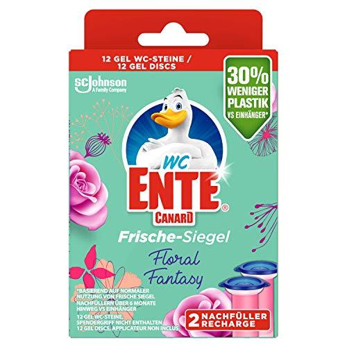 WC-Ente Frische-Siegel Nachfüller, körbchenloser WC-Reiniger, 12 Gel WC-Steine, Floral Fantasy Duft, 2er Pack (2 x 36 ml)
