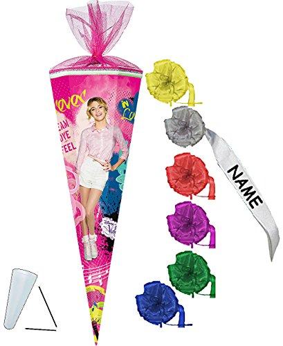 alles-meine.de GmbH stabile Spitze - aus Kunststoff - für Schultüte -  Disney - Violetta  - 22 / 35 / 50 / 70 / 85 cm - incl. individueller Schleife - Zuckertüte ALLE Größen - ..