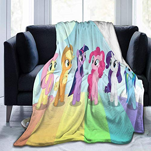 Lsjuee Anime Rainbow Pony Manta de Franela de Microfibra Mantas de Tiro Super Suave Fuzzy Luxury Adecuado para Cama Sofá Viaje Four Seasons Manta 60 x 50 Pulgadas