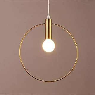 Rishx Creative Metal Ring Pendant Light Chandelier Arts Decoration Gold Suspension Hanging Lamp E14 LED Ceiling Lighting Fixture for Lobby Dining Room Clubhouse Exhibition Hall (Size : L-28cm)
