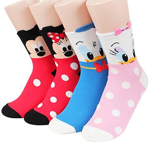 Kikiya Socks Disney Pixar Character Series Women#039s Original Crew Socks Mickey Friends_4pairs