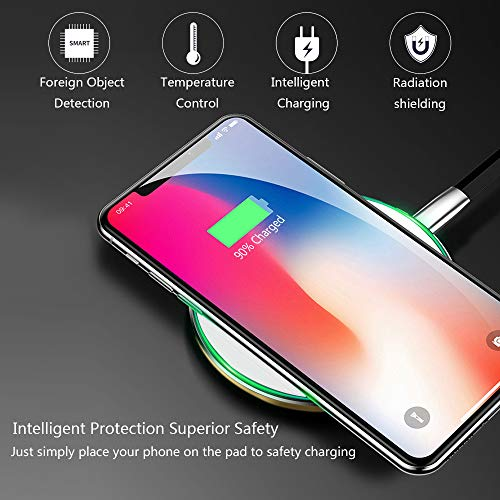 QI Certified Wireless Charging Stand Output 5W//7.5W//10W Compatible with iPhone Xs MAX//XR//XS//X//8//8 Plus TEINO NSC021 Wireless Fast Charger Galaxy Note 9//S9//S9 Plus//Note 8//S8