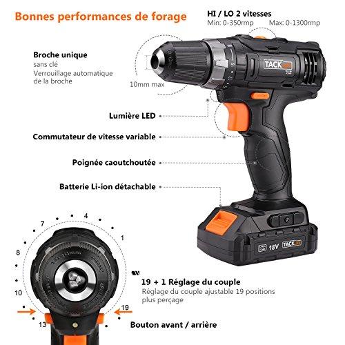 TACKLIFE PCD05B Perceuse Visseuse Sans Fil 18V à 2 Vitesses, 2x2.0 Ah Batteries Lithium-ion, Charge 1h, 19+1 Couples de Serrage (30N.m), Mandrin Métal 10mm, Accessoires 43pcs