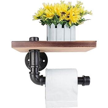 Wood Storage Shelf Urban Industrial Wall Mount Iron Pipe Toilet Paper Holder R