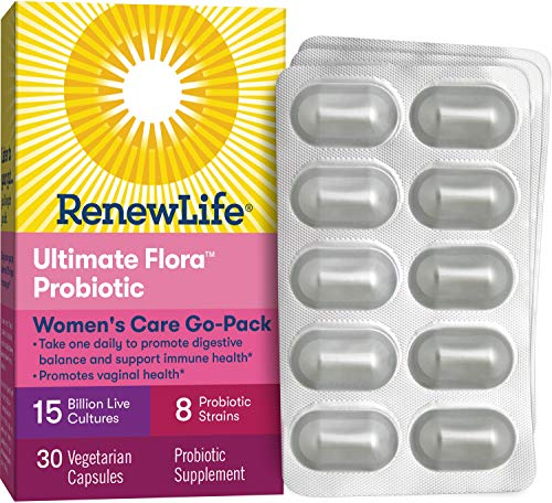 Renew Life Womens Probiotic - Ultimate Flora Women's Care Go-Pack Probiotic Supplement - Shelf Stable, Gluten, Dairy & Soy Free - 15 Billion CFU - 30 Vegetarian Capsules (15872)