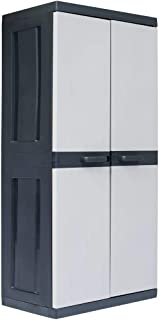 vidaXL Garden Storage Cabinet XXL Plastic 4 Adjustable Shelves Weather Resistant Deck Storage Cupboard Tool Shed Locker Ou...
