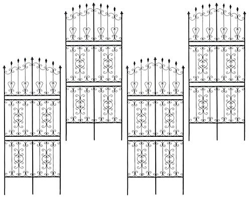 ガーデンガーデン お庭をエレガントに彩る IBフェンス ローズワイド ハイタイプ 幅92.5×高さ219cm 4枚セット ブラック アイアントレリス IBF-RSWIDE220-4P