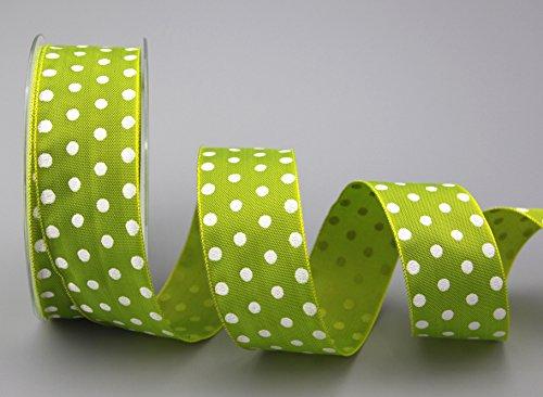 Dekorband (0,93 €/m) poäng ljusgrön/vit 20 m x 40 mm (rulle) presentband med tråd taftband prickad glad påsk födelsedag barn rosettband från Finmark
