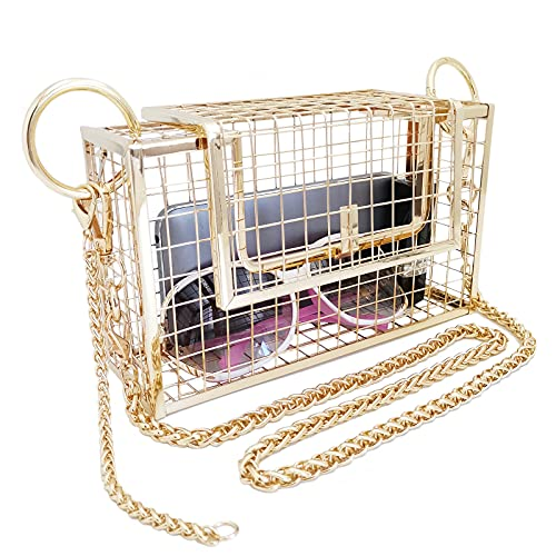 Women Square Cage Metal Evening Clutch Purse, Caged Bag for Women with Strong Twist Chain (Gold)