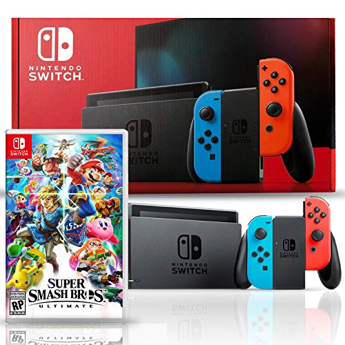 Nintendo Switch with Neon Blue and Red Joy-Con Bundle with Super Smash Bros. Ultimate