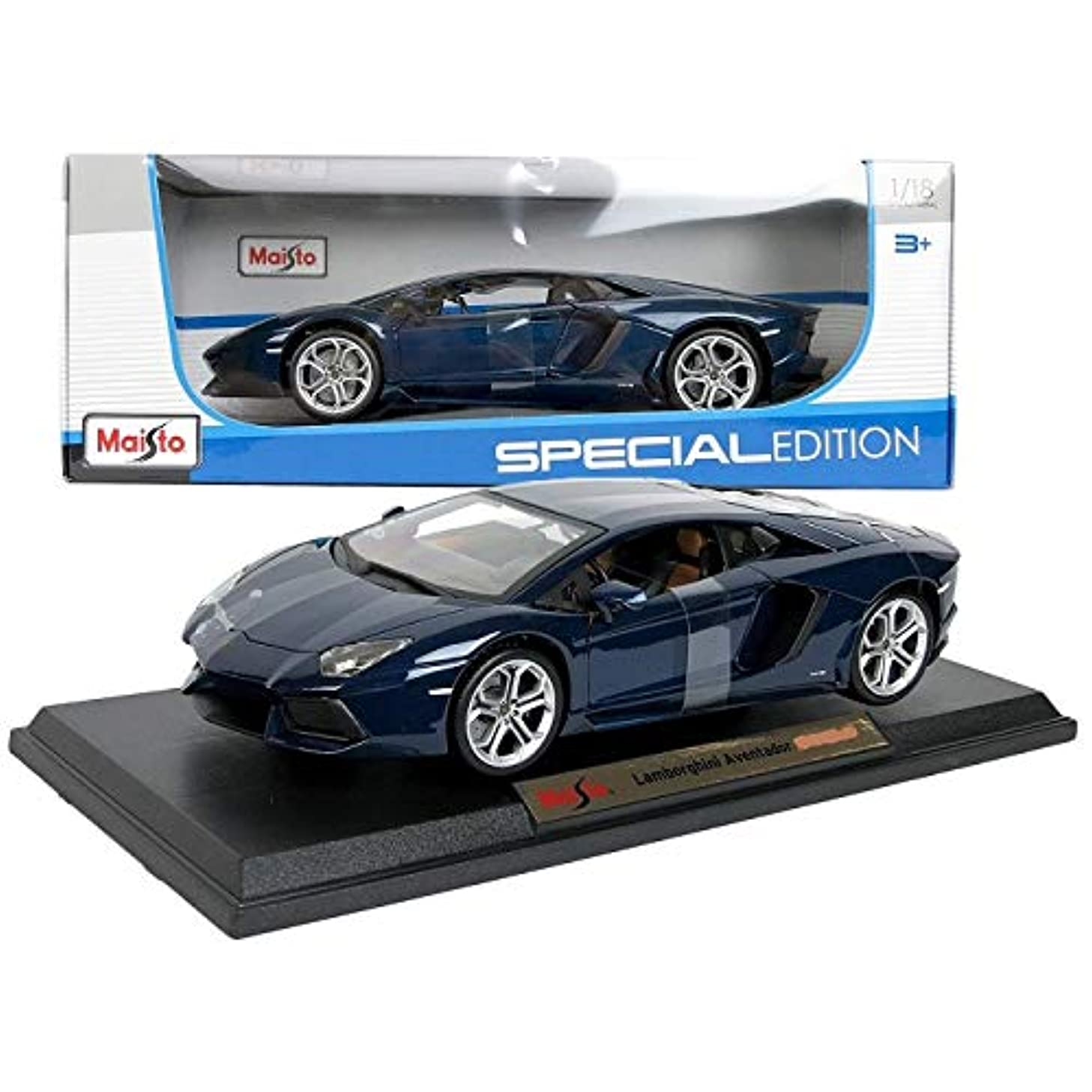 Maisto 1:18 Aventador Coupe Blue Diecast Car Model Vehicle Window Box