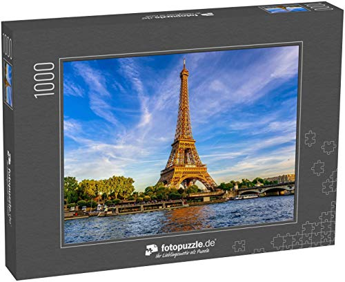 Puzzle 1000 Teile Pariser Eiffelturm und Seine bei Sonnenuntergang in Paris, Frankreich - Klassische Puzzle, 1000/200/2000 Teile, in edler Motiv-Schachtel, Fotopuzzle-Kollektion 'Frankreich'