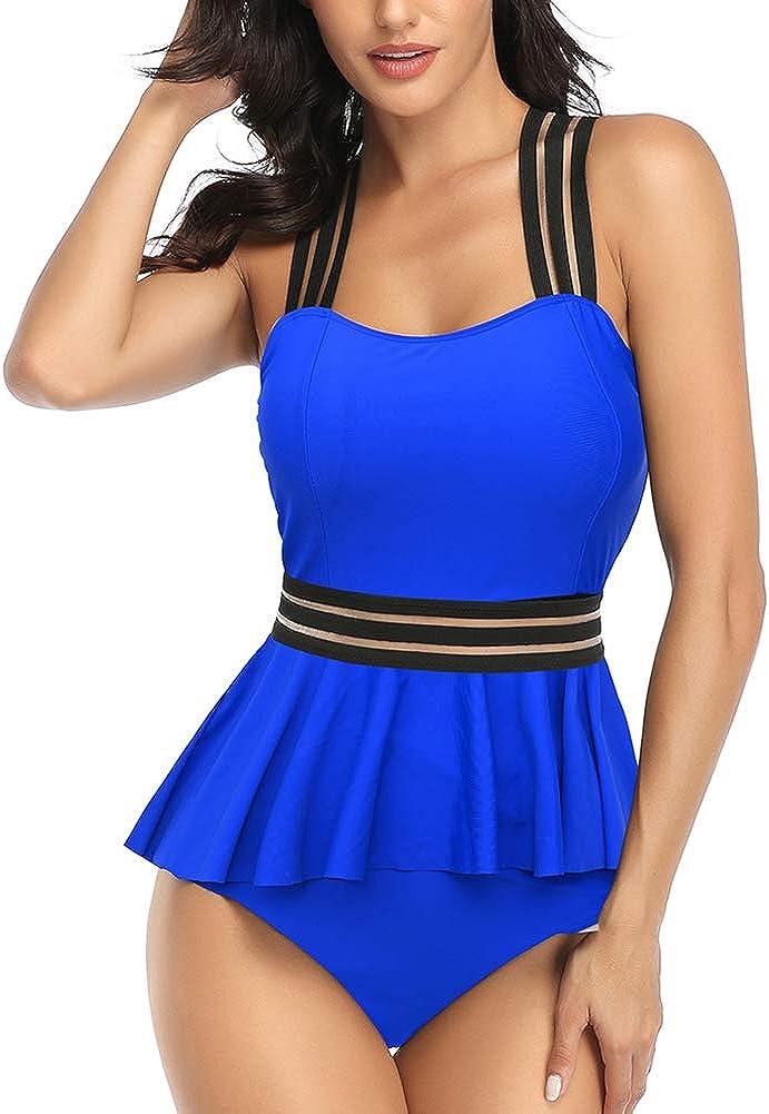 Rosiika Women's Tummy Control Swimwear Tankini Set Ruffled Swimsuit Swimdress Two Piece Bathing Suit