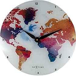NEXTIME Colorful World Wall Clock, Glass, Multicolors, 16.93 Diamater, Battery Operated