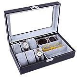 WZJ-Boite Cadeau 6 Montres + 3 Verres Casse-Flanelle Porte-fenêtres Verres boîte de Rangement boîtes de Montre en Bois boîte d'emballage
