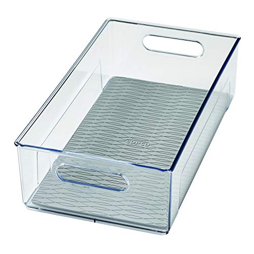"""Copco Kitchen Storage Organizer Deep Bin with Built-In Handles, for Pantries, Cabinets, Shelves, Refrigerator, Freezer-BPA Free, Food Safe, 14.8"""" x 8.2"""" x 4.2"""", Clear"""