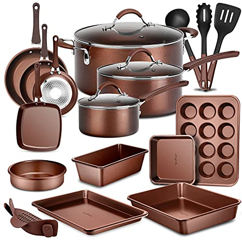 NutriChef 20-Pc. Nonstick Kitchen PTFE/PFOA/PFOS-Free Heat Resistant Silicone Handles Cookware Bakeware Set w/Saucepan, Frying Pans, Cooking, Oven Pot, Lids, Utensil, Brown-NCCW20SBR, Brown