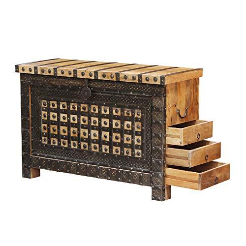Casa Moro Schöne orientalische Truhe Hessa 120x40x77 (BxTxH) mit 3 Schubladen aus massiv Mangoholz mit Metallapplikationen verziert | Orient Holztruhe im Kolonialstil | CAC3602190 - 2