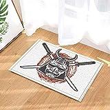 WEIZHE Decoración asustada Cráneo de Samurai japonés Alfombra de baño Alfombra Antideslizante Alfombra de Entrada de Piso Alfombra de Puerta de Interior al Aire Libre