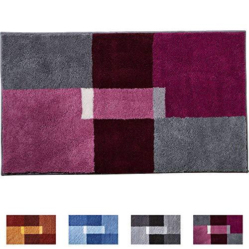 Erwin Müller Badematte, Badteppich, Badvorleger rutschhemmend violett Größe 60x100 cm - herrlich weich und flauschig, für Fußbodenheizung geeignet (weitere Größen, Farben)