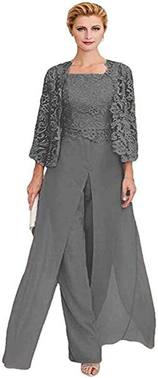 HYC Women's Chiffon Pant Suits with Lace Jacket 3 Pieces Mother of Groom Pantsuits