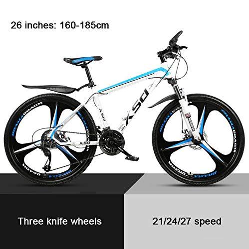 COUYY 26'Mountain Bike Wheel Damper Mito White Blue Triangles, high Carbon Hard Mountain Bike, Adjustable Seats, 21/24/27-speed,21speed