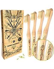 Nature Nerds - Cepillos de dientes de bambú en un set (pack de 4) / Dureza: Media/hecho de bambú cultivado de forma sostenible/vegano/libre de BPA