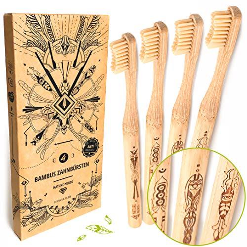 Nature Nerds - bambusowe szczoteczki do zębów w zestawie (opakowanie 4 szt.) / Stopień twardości: średnia/wegańska/bez BPA