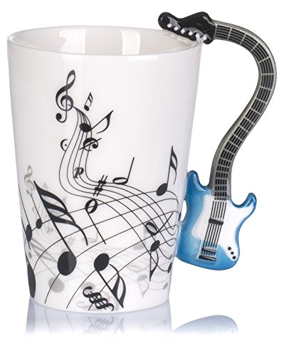 """Keramiktasse mit Motiv Henkel – Weiß Bedruckt """"E-Gitarre"""" Design ca. 0,2l – Tee & Kaffee Tasse zum Verschenken – Grinscard - 3"""