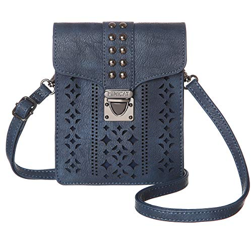 MINICAT Women RFID Blocking Small Crossbody Bags Cell Phone Purse Wallet With Credit Card Slots(Dark Blue)
