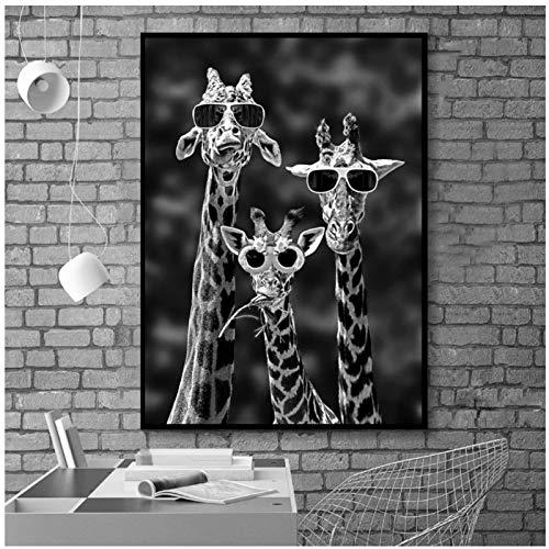 Bzdmly Schwarz-Weiß-Tiere Leinwandbilder Giraffen mit Sonnenbrille an der Wand Kunst Poster und Drucke Dekor 70x90cm / 27,6