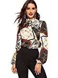 Romwe Women's Elegant Printed Stand Collar Workwear Blouse Top Shirts Chain Print Large