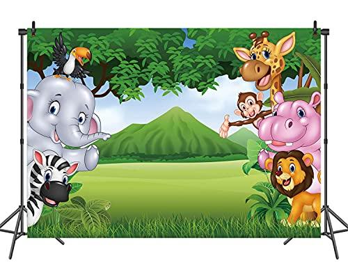 RUINI - Fondo de poliéster con dibujos animados para fiestas de safari en la selva, color verde y verde