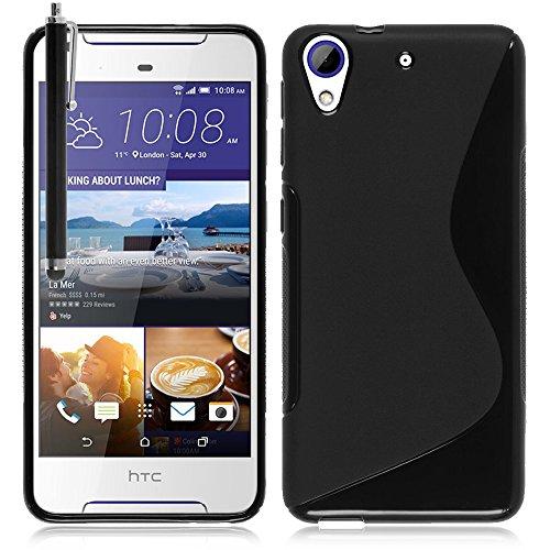 VComp-Shop® S-Line TPU Silikon Handy Schutzhülle für HTC Desire 628/ 628 dual sim + Großer Eingabestift - SCHWARZ