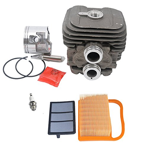 SaferCCTV 50mm Cylinder Pot & Piston Assembly Kit Set with 4238 140 4401 Air Filter Replacement for Stihl TS410 TS420 Replace 4238 020 1202, 4238 030 0400, 9503 003 0351, 9512 003 2344