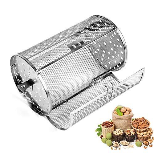 JXRY Cesta de Horno asador de Acero Inoxidable, Tambor Giratorio Universal de 8/10 Pulgadas para Horno doméstico, para tostar nueces, Granos de café, maní, Barbacoa (Grande)