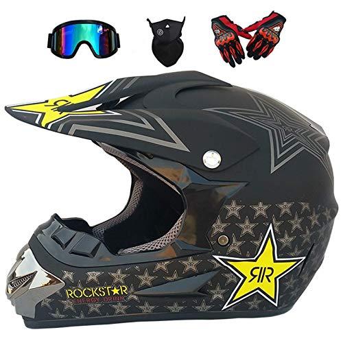 NNYY Casco de Descenso para Adultos Regalos Gafas máscara Guantes BMX MX ATV DH Carrera en Bicicleta de Cara Completa Casco Integral,Negro,S