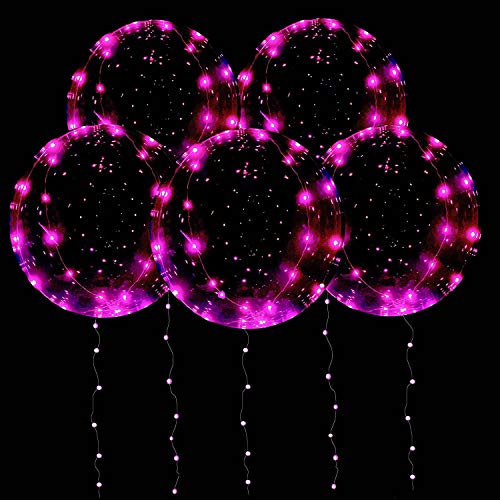 DANIDEER Led BoBo Balloons Warm White/Pink/Blue, 18 Inch 5 PCS Transparent Helium Balloons with String Lights, LED Light Balloons for Christmas, Birthday, Wedding and Party Decoration (Pink)