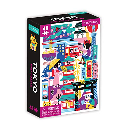 """Mudpuppy Tokyo Mini Puzzle, 48 Pieces, 8"""" x 5.75"""" – Perfect Family Puzzle for Ages 4+ – Features a Colorful Illustration of Iconic Tokyo Landmarks"""