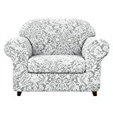 subrtex Sofa Cover Couch Cover 2-Piece Jacquard Damask Slipcovers with Seat Cushion Stretch Furniture Protector Chair Covers for Living Room Kids, Pets(Small,Light Smoky Gray)