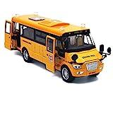 Baellar 9 'Giallo Pull-Back School Bus pressofuso in Lega Veicoli Giocattolo con luci, Suoni e Aprire Le Porte-Grado