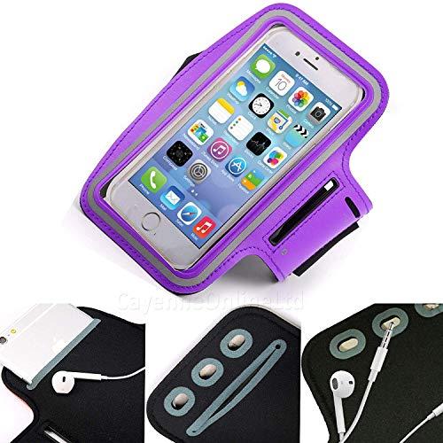 DOT. Universal Handy Halter Schweiß Resistant Laufschuhe Sport Trainieren Fitnessstudio Armband für Oppo Reno oder Jedes Display zwischen 5.2-5.8 Zoll - Schlüsselhalter - Verstellbarer Gurt - Lila