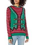 Ugly Christmas Sweater Company Women's Hoodie Elf with Ears & Pom Pom, Cayenne, S