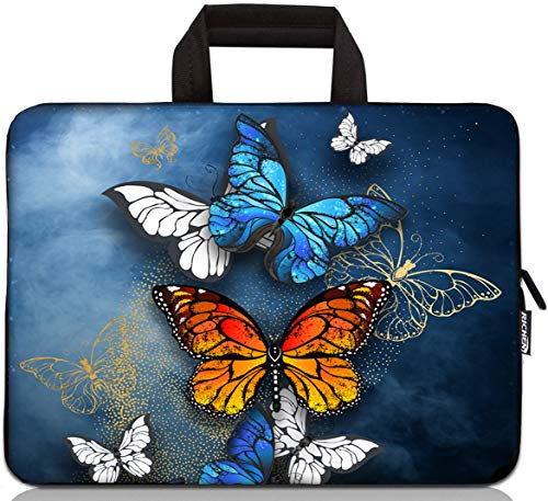 15 inch Neoprene Laptop Carrying Bag Chromebook Case Tablet Travel Cover with Handle Zipper Carrying Sleeve Case Bag Fits 14 15 15.4 inch Netbook / Laptop (14-15.4 inch, Colorful Butterfies)