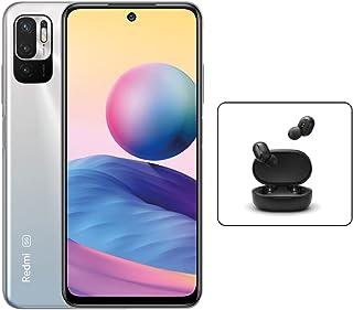 هاتف Xiaomi Redmi Note 10 5G الذكي ثنائي شريحة الاتصال كروم فضي 4GB RAM 128GB LTE + Mi True Wireless Earbuds Basic 2