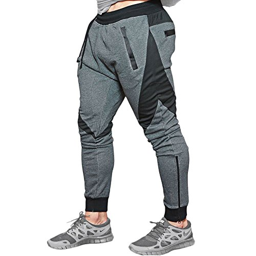 MECH-ENG Men's Joggers Pants Gym Workout Running Trousers with Pockets(Dark Grey M/Tag XL)