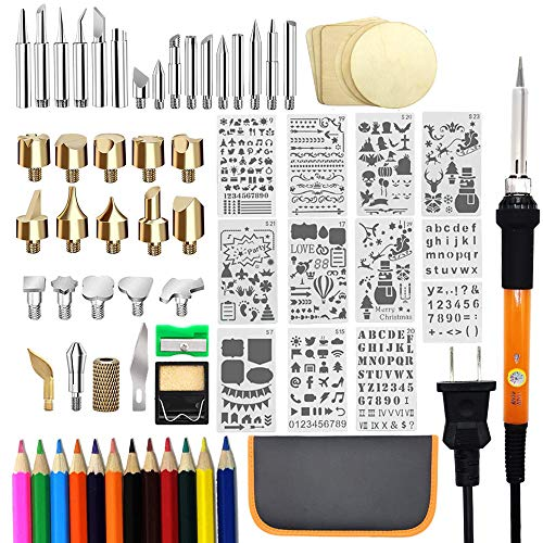 Blue Soldering Iron Temperature Adjustable with Wood Burning Pen Vastar 48pcs Wood Burning Kit 5 Stencils,12 Pencils,Stand /& Sharpener Embossing//Carving//Soldering Tips