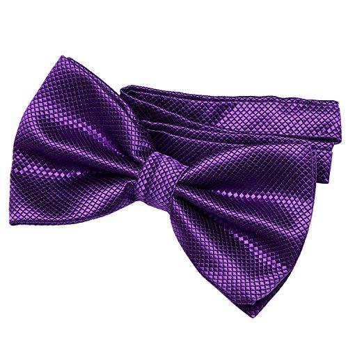 DonDon DonDon Herren Fliege 12 x 6 cm gebunden mit Hakenverschluss und größenverstellbar für besondere Anlässe violett