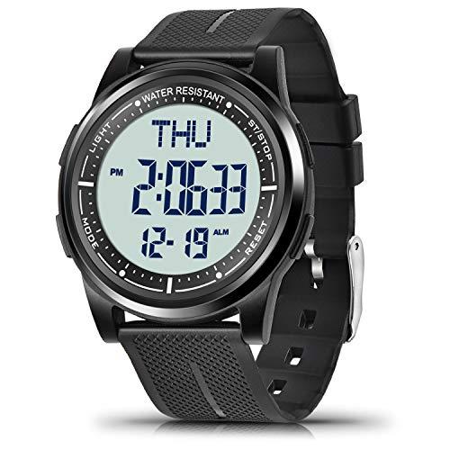 WIFORT Digital Uhren Herren Damen, 5 ATM Wasserdicht Armbanduhr mit EL Hintergrundbeleuchtung Duale Zeitzone Stoppuhr Countdown Wecker, Ultraleichte und Weitwinkel Anzeige Digitaluhr Unisex