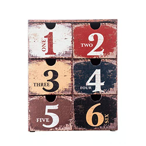 caja vintage con 6 cajones, Organizador cosméticos en Estilo Vintage, PVC, marrón, para almacenar Trucos y Accesorios - Medidas: 30 x 24 x 15 cm (AxANxF) - Art. RE4772